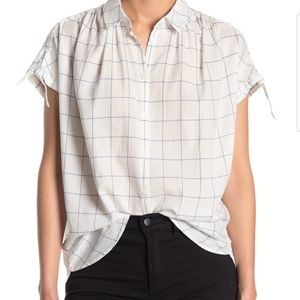 Madewell Central Tie-Sleeve Shirt in Windowpane
